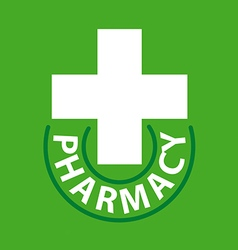Logo cross for pharmacy on a green background vector