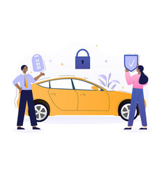 Male vehicle sales manager is installing car alarm vector
