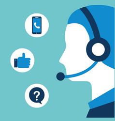Man dispatcher headset customer service vector