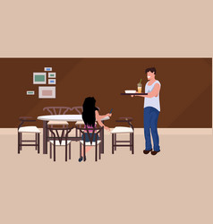 Man waiter serving food to woman guest sitting vector