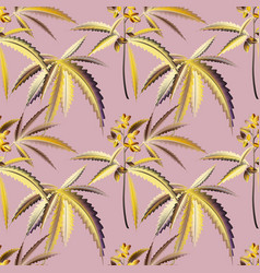 marihuana plant bloom background seamless pattern vector image