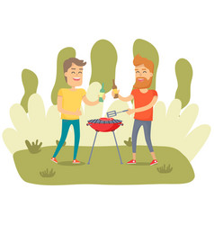 Men are cooking barbecue grill friends fry meat vector