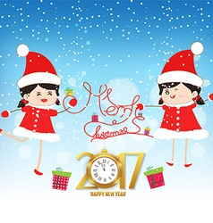 Merry christmas and happy new year 2017 with clock vector