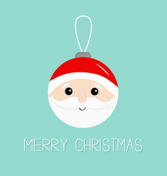 merry christmas ball toy hanging santa claus head vector image