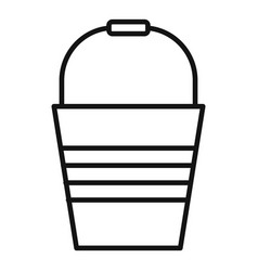 metal bucket icon outline style vector image