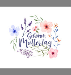 mothers day german watercolor flower card vector image