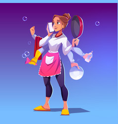 multitasking houswife with many hands vector image