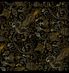 Paisley beautiful golden seamless background vector