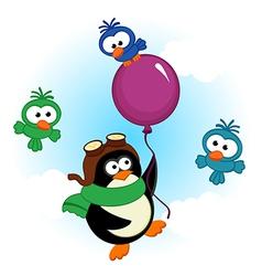 penguin on balloon vector image