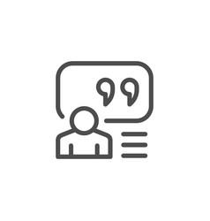 Person quote line icon vector