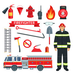 Profession of fireman or firefighter tools vector