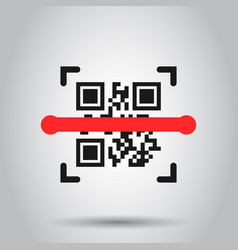 Qr code scan icon in flat style scanner id on vector