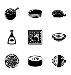 raw whitefish icons set simple style vector image