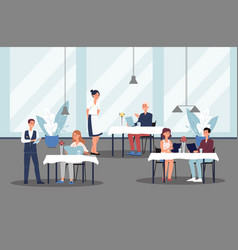 restaurant with visitors ordering food and waiters vector image