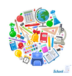 round formed banner of school objects for design vector image