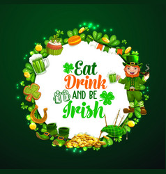 saint patricks day signs luck frame lettering vector image