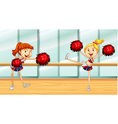 Scene with two cheerleaders in room vector