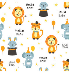 Seamless pattern with circus animals vector