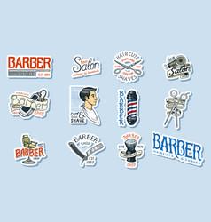 set barbershop logo tools for man icon vector image