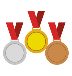 set championship medals isolated icon vector image