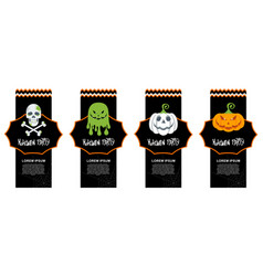 set of halloween paper cut tags labels or price vector image