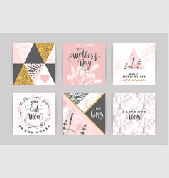 set of happy mothers day lettering greeting cards vector image