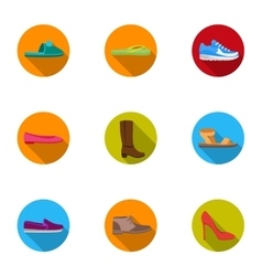 Shoes set icons in flat style big collection vector