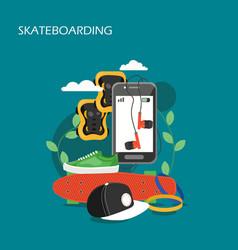 skateboarding set flat style design vector image