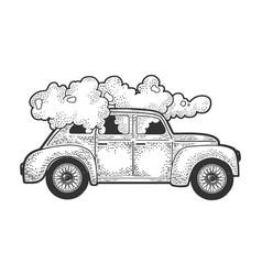 smoking car sketch vector image