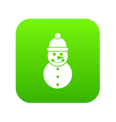 snowman icon digital green vector image