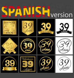 Spanish set of number 39 templates vector