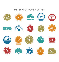 Speed gauge icons circular barometer or vector