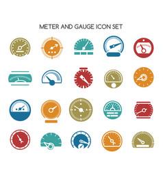 Speed gauge icons circular barometer vector
