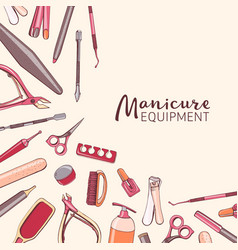 Square background with manicure equipment hand vector