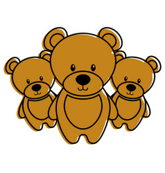 Three teddy bears cute animal toy vector