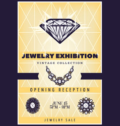 vintage beautiful jewelry exhibition poster vector image