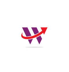 W initial arrow logo vector