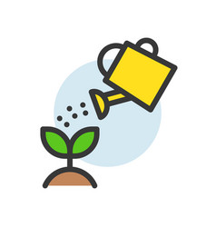 water can watering plant icon filled line flat vector image