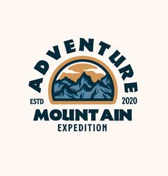 webmountain adventure emblem logo template vector image