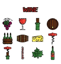 Wine flat icons set vector image