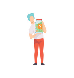 Young man holding glass jar with money bills and vector