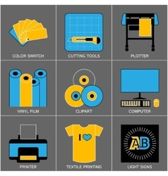 Set of Flat Line Design Icons for Sign-making vector image