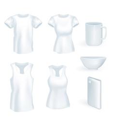 Set volume t-shirt mug phone vector image