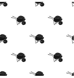 wheelbarrow icon in black style isolated on white vector image