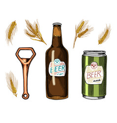 beer glass mug or bottle of oktoberfest wheat or vector image