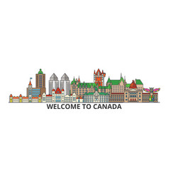canada outline skyline canadian flat thin line vector image