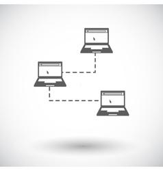 Computer network single icon vector image vector image