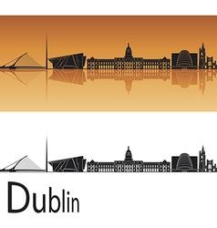Dublin skyline in orange background vector image vector image