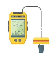 Flat style yellow fish finder sonar vector