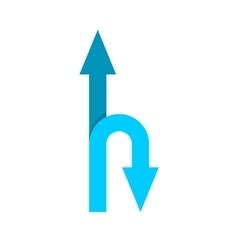 Forward and u-turn arrows vector image